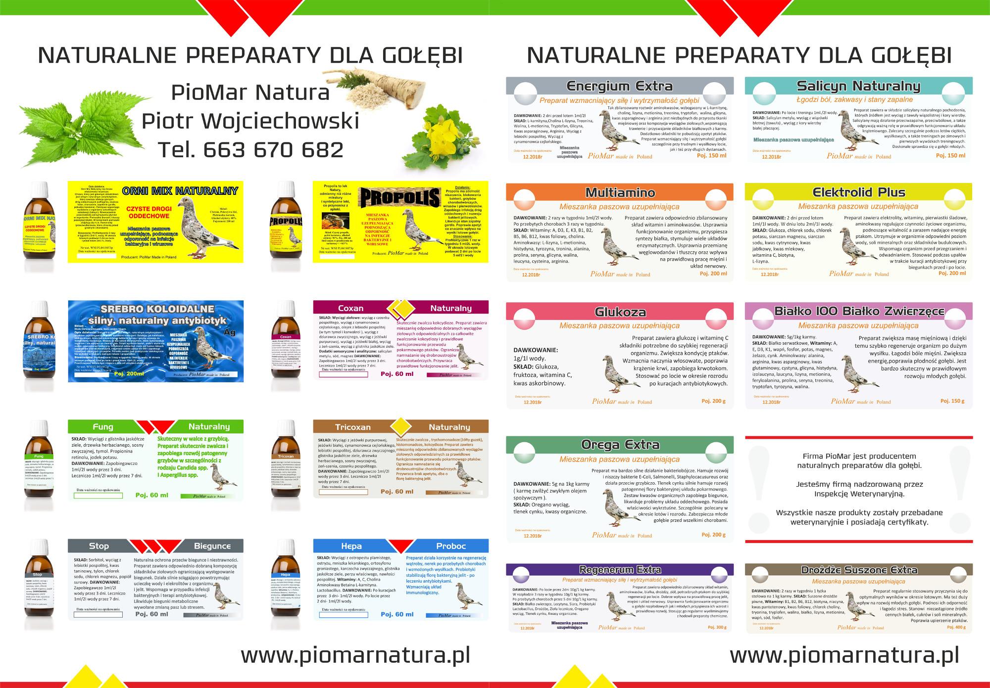 Naturalne produkty dla gołębi firmy PioMar Piotr Wojciechowski
